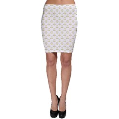 Gold Scales Of Justice On White Repeat Pattern All Over Print Bodycon Skirt by PodArtist