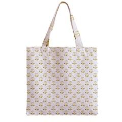 Gold Scales Of Justice On White Repeat Pattern All Over Print Grocery Tote Bag by PodArtist