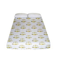 Gold Scales Of Justice On White Repeat Pattern All Over Print Fitted Sheet (full/ Double Size) by PodArtist