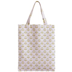 Gold Scales Of Justice On White Repeat Pattern All Over Print Zipper Classic Tote Bag by PodArtist