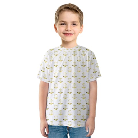 Gold Scales Of Justice On White Repeat Pattern All Over Print Kids  Sport Mesh Tee by PodArtist