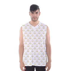 Gold Scales Of Justice On White Repeat Pattern All Over Print Men s Basketball Tank Top by PodArtist