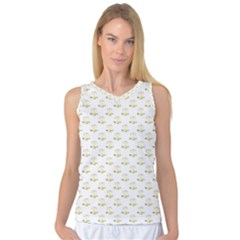 Gold Scales Of Justice On White Repeat Pattern All Over Print Women s Basketball Tank Top by PodArtist