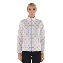 Gold Scales Of Justice On White Repeat Pattern All Over Print Winterwear by PodArtist