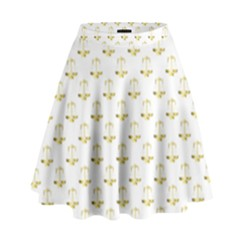 Gold Scales Of Justice On White Repeat Pattern All Over Print High Waist Skirt by PodArtist