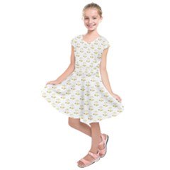 Gold Scales Of Justice On White Repeat Pattern All Over Print Kids  Short Sleeve Dress by PodArtist