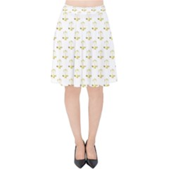 Gold Scales Of Justice On White Repeat Pattern All Over Print Velvet High Waist Skirt by PodArtist