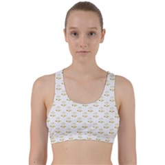 Gold Scales Of Justice On White Repeat Pattern All Over Print Back Weave Sports Bra by PodArtist