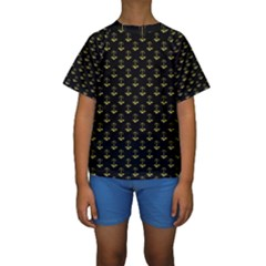 Gold Scales Of Justice On Black Repeat Pattern All Over Print  Kids  Short Sleeve Swimwear by PodArtist