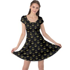 Gold Scales Of Justice On Black Repeat Pattern All Over Print  Cap Sleeve Dress by PodArtist
