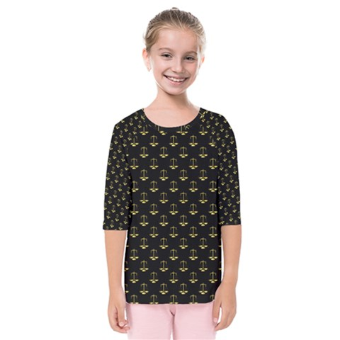 Gold Scales Of Justice On Black Repeat Pattern All Over Print  Kids  Quarter Sleeve Raglan Tee by PodArtist