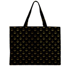 Gold Scales Of Justice On Black Repeat Pattern All Over Print  Zipper Mini Tote Bag by PodArtist
