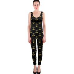 Gold Scales Of Justice On Black Repeat Pattern All Over Print  Onepiece Catsuit by PodArtist
