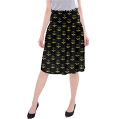 Gold Scales Of Justice On Black Repeat Pattern All Over Print  Midi Beach Skirt by PodArtist