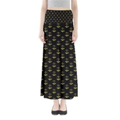 Gold Scales Of Justice On Black Repeat Pattern All Over Print  Full Length Maxi Skirt by PodArtist