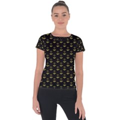 Gold Scales Of Justice On Black Repeat Pattern All Over Print  Short Sleeve Sports Top  by PodArtist