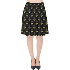 Gold Scales Of Justice On Black Repeat Pattern All Over Print  Velvet High Waist Skirt by PodArtist
