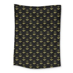 Gold Scales Of Justice On Black Repeat Pattern All Over Print  Medium Tapestry by PodArtist