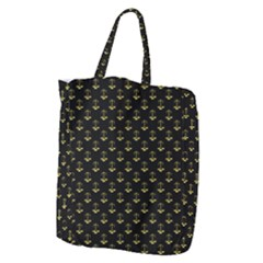 Gold Scales Of Justice On Black Repeat Pattern All Over Print  Giant Grocery Zipper Tote by PodArtist
