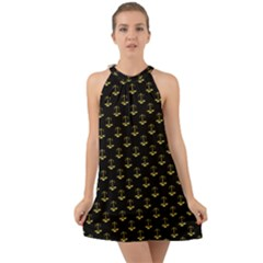 Gold Scales Of Justice On Black Repeat Pattern All Over Print  Halter Tie Back Chiffon Dress