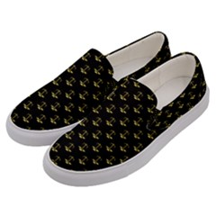Gold Scales Of Justice On Black Repeat Pattern All Over Print  Men s Canvas Slip Ons by PodArtist