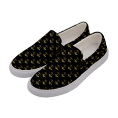Gold Scales Of Justice On Black Repeat Pattern All Over Print  Women s Canvas Slip Ons by PodArtist
