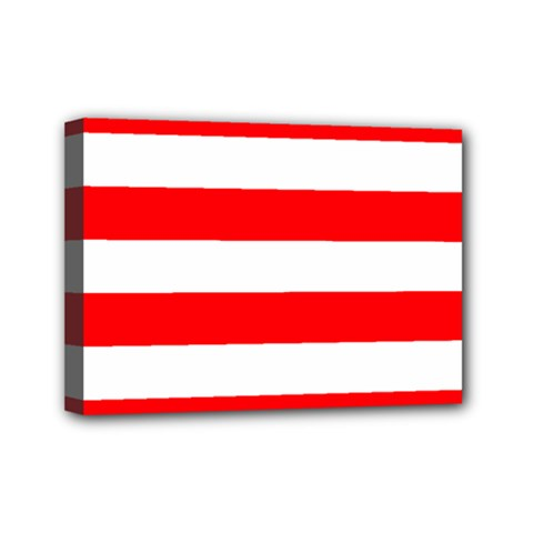 Christmas Red And White Cabana Stripes Mini Canvas 7  X 5  by PodArtist