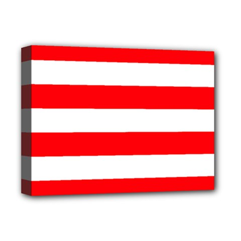 Christmas Red And White Cabana Stripes Deluxe Canvas 16  X 12   by PodArtist