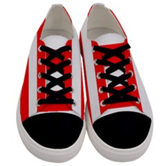 Christmas Red And White Cabana Stripes Men s Low Top Canvas Sneakers