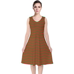 Christmas Red And Green Chevron Zig Zag Stripes V Neck Midi Sleeveless Dress