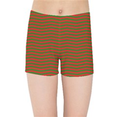 Christmas Red And Green Chevron Zig Zag Stripes Kids Sports Shorts