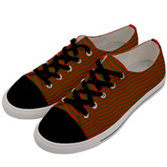 Christmas Red And Green Chevron Zig Zag Stripes Men s Low Top Canvas Sneakers by PodArtist