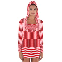 Christmas Red And White Chevron Stripes Long Sleeve Hooded T-shirt by PodArtist