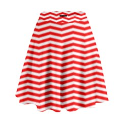 Christmas Red And White Chevron Stripes High Waist Skirt