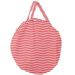 Christmas Red And White Chevron Stripes Giant Round Zipper Tote by PodArtist