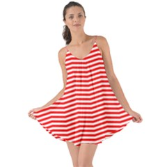 Christmas Red And White Chevron Stripes Love The Sun Cover Up