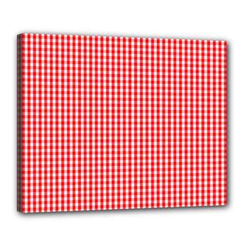 Small Snow White And Christmas Red Gingham Check Plaid Canvas 20  X 16  by PodArtist