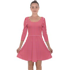Small Snow White And Christmas Red Gingham Check Plaid Quarter Sleeve Skater Dress