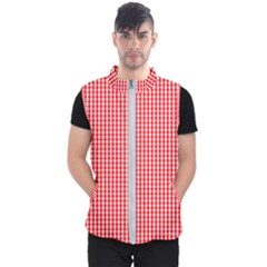 Small Snow White And Christmas Red Gingham Check Plaid Men s Puffer Vest by PodArtist