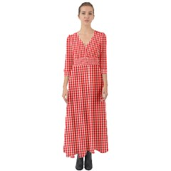 Small Snow White And Christmas Red Gingham Check Plaid Button Up Boho Maxi Dress by PodArtist