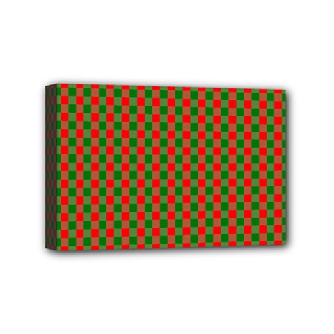 Large Red And Green Christmas Gingham Check Tartan Plaid Mini Canvas 6  X 4  by PodArtist