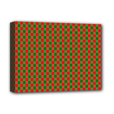 Large Red And Green Christmas Gingham Check Tartan Plaid Deluxe Canvas 16  X 12   by PodArtist