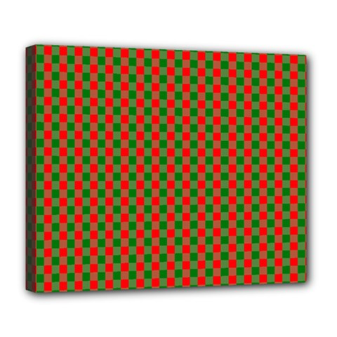 Large Red And Green Christmas Gingham Check Tartan Plaid Deluxe Canvas 24  X 20   by PodArtist