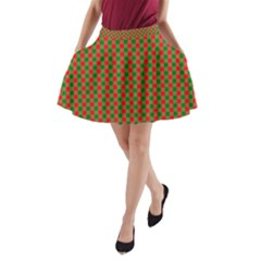 Large Red And Green Christmas Gingham Check Tartan Plaid A Line Pocket Skirt by PodArtist