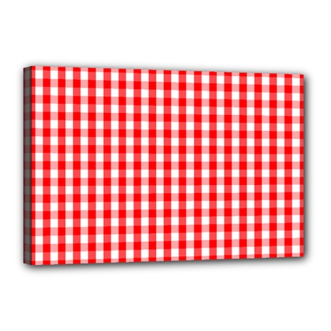 Large Christmas Red And White Gingham Check Plaid Canvas 18  X 12  by PodArtist