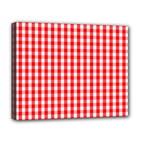 Large Christmas Red And White Gingham Check Plaid Deluxe Canvas 20  X 16   by PodArtist