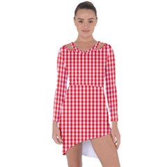 Large Christmas Red And White Gingham Check Plaid Asymmetric Cut-out Shift Dress by PodArtist