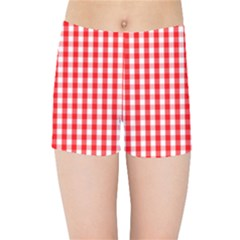 Large Christmas Red And White Gingham Check Plaid Kids Sports Shorts