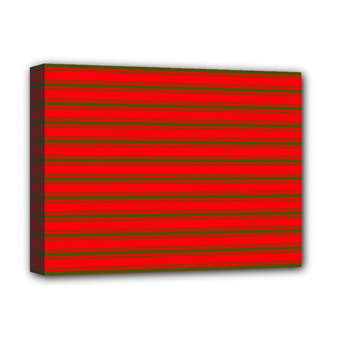 Christmas Red And Green Bedding Stripes Deluxe Canvas 16  X 12   by PodArtist