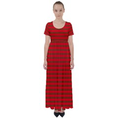 Christmas Red And Green Bedding Stripes High Waist Short Sleeve Maxi Dress